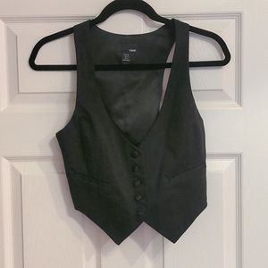 H&M | Black Tuxedo Button Up Vest